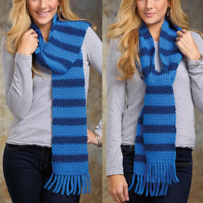 полосатый шарф как связать шарф в полоску инструкция и схемы