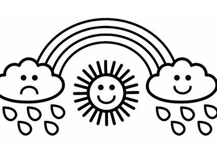 Солнце, радуга и тучи