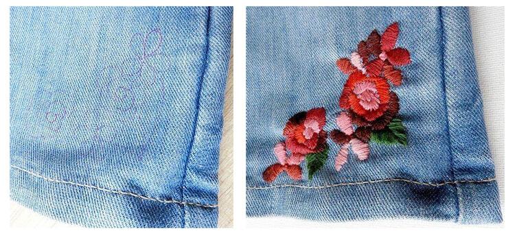 Вышивка внизу джинс
