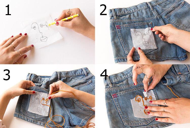 Процесс вышивки на заднем кармане